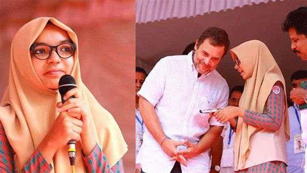 രാഹുല് ഗാന്ധിയുടെ പ്രസംഗം മലയാളത്തിലേക്ക് പരിഭാഷ ചെയ്ത സഫ സെബിന് അഭിനന്ദന പ്രവാഹം